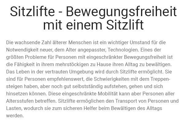 Sitzlifte aus  Attendorn (Hansestadt)